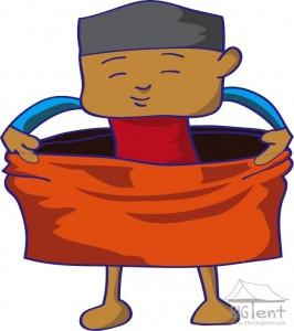 Wearing sarong - step 2