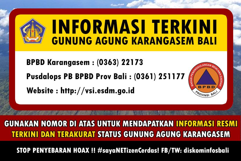 Ugnikalnio Agung oficiali informacija