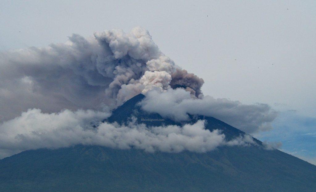 Erupting Agung in Bali